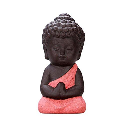 Keramik Kleine Buddha Mini Mönch Statue fur Reichtum Glück Figur Home Baby Buddha Dekor Geschenk Keramik Tee Pet Innovative Dekoration (Keramik-mini-figur)
