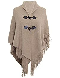 Lovetoenvy Ladies Poncho Cape Winter Shawl with Pom Poms /& Button Detail