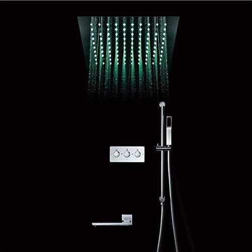 YAMEIJIA Duschset – Unterputz-Duschset – Heiße und kalte Wand – DREI Funktionen – 64 Farb-LED-Dusche,