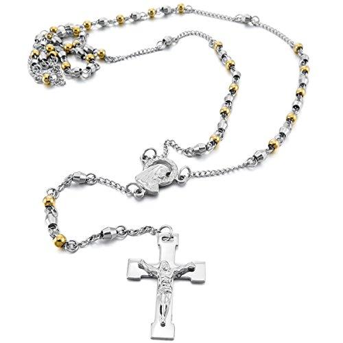 MunkiMix Acciaio Inossidabile Pendente Ciondolo Collana Argento Oro Vergine Maria Jesus Gesù Cristo Crocifisso Croce Perline Rosario Retro 25 Pollici Catena Catenina Uomo,Donna
