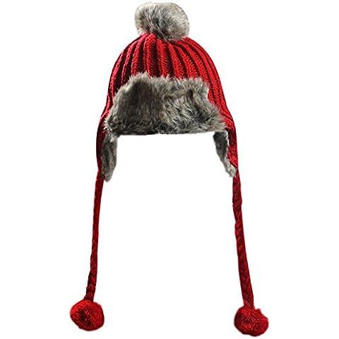 Womens piel de invierno Bomber Trapper Federación tejer orejeras Esquí Pom Pom Beanie Hat rojo
