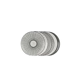 Ard'Time EC-6KOAS21 KomaéTeller, Keramik, 21,5x 21,5x 2cm, Schwarz/Weiß, 6 St.