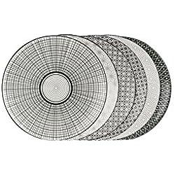 ard' Time ec-6koas21komaé-Juego de 6Platos cerámica Negro/Blanco 21,5x 21,5x 2cm