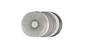 Ard'Time EC-6KOAS21 Komaé Lot de 6 Assiettes Céramique Noir/Blanc 21,5 x 21,5 x 2 cm
