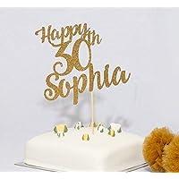 Nom personnalisé et topper de gâteau d'anniversaire d'âge. Joyeux anniversaire gâteau. 30ème, 40ème, 50ème gâteau. Personnalisé n'importe quel âge et nom