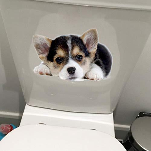 Nette Corky Hund Wc Aufkleber Für Badezimmer Wasserdichte Vinyl Wandbilder Abnehmbare Kunst Aufkleber Tapete Wohnkultur 20,8 cm x 13,9 cm 2 stücke