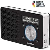 TechniSat DIGITRADIO 1 Empfangsstarkes Radio Made in Germany (DAB+, UKW, FM, Lautsprecher, Kopfhörer-Anschluss, Favoritenspeicher, OLED-Display, Akku, klein, tragbar), schwarz/silber