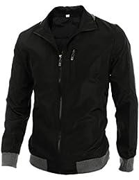 Allegra K Mens Convertible Collar Rib Knit Trim Zip Up Jackets