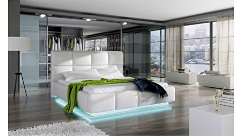 JUSTyou Asti Polsterbett Doppelbett Ehebett Kunstleder (BxLxH): 190x224x105 cm Weiß