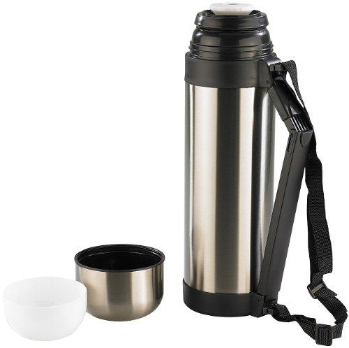Rosenstein & Söhne Edelstahl-Isolierflasche: Reise-Isolierflasche 1,8l mit 2 Bechern & Tragegurt (Thermokanne statt Thermo-Tasse)