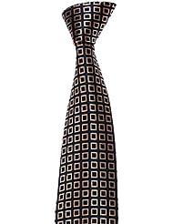 MAILANDO Herren Krawatte mit Kästchen Kasten Muster, viele Farben, rot – schwarz - braun – blau