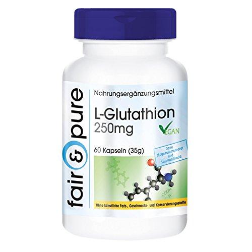 Nebennieren Natürliche (L-Glutathion reduziert 250mg - vegan - reduziert - Antioxidans - 60 Glutathion-Kapseln - ohne Magnesiumstearat - 2-Monatspackung)
