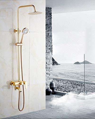 Preisvergleich Produktbild BAIF Duschset Aluminium-Duschset Unter Druck Konstante Temperatur Multifunktions-Duschset zur Wandmontage (Gold)