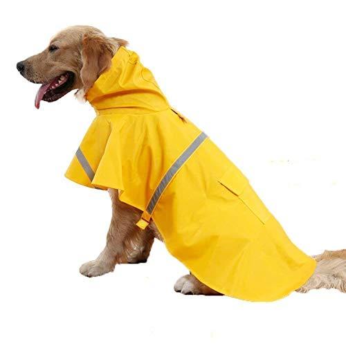Haustier-Regenmantel, Verstellbar, Wasserdicht, Regenmantel, Sicherheits-Jacke,mit reflektierenden Sicherheitsstreifen, Geeignet für kleine und mittlere Hunde, mittelgroße Hunde, große Hunde (L, Gelb)