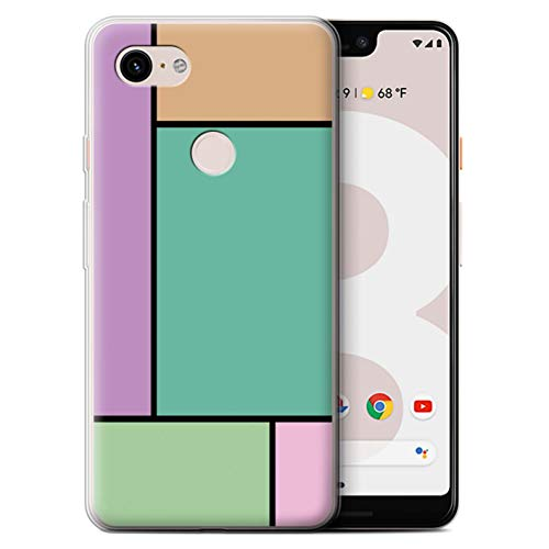 Stuff4® Gel TPU Hülle/Case für Google Pixel 3 XL / 5 Fliesen/Türkis Muster/Pastell Fliesen Kollektion