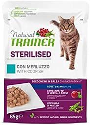 Natural Trainer Sterilised - Cibo Umido per Gatti Adulti Sterilizzati con Merluzzo e Fibra di Pisello - 12 Bus