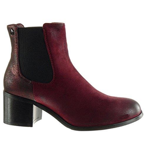 Angkorly - Chaussure Mode Bottine chelsea boots effet vieilli femme brillant clouté Talon haut bloc 5.5 CM - Intérieur Fourrée Bordeaux