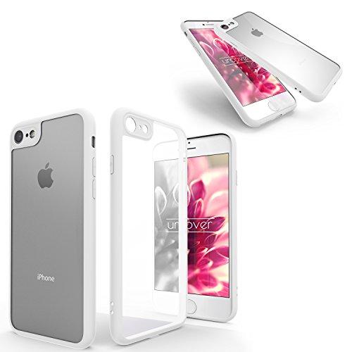 Urcover® Apple iPhone 7 Plus / 8 Plus Schutzhülle transparent mit Rahmen in Rot Back-Case Cover Smartphone Schale Weiß