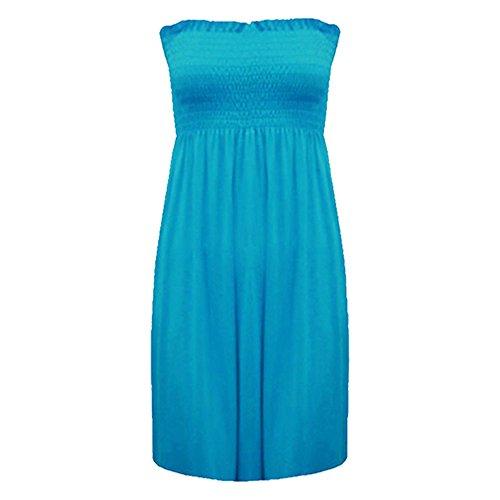 Fashion moins 4 pour femme Imprimé Sheering Plus longue bustier robe Haut débardeur 20 22 Turquoise