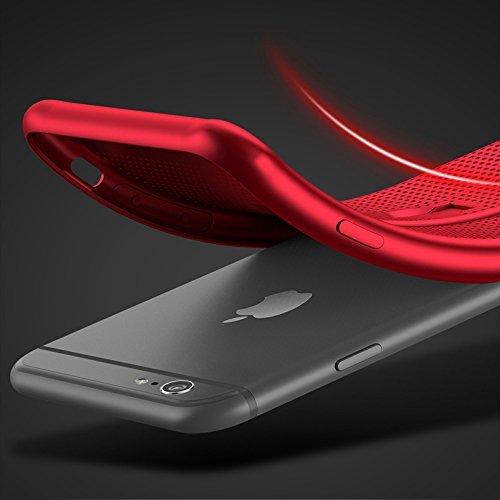 iPhone 6 Plus Caso,iPhone 6s Plus Caso,Gemwon Soft TPU Cover [cavalletto] [traspirante] [ultra sottile] [leggero] [anti-impronte digitali] Holder Ring Case per iPhone 6/6s Plus (Nero) Rosso