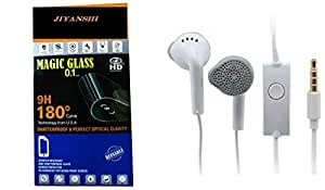 Jiyanshi Combo of Screen Guard / Screen Protector & Earphone With Super Sound White Compatible For Micromax Canvas Nitro A310
