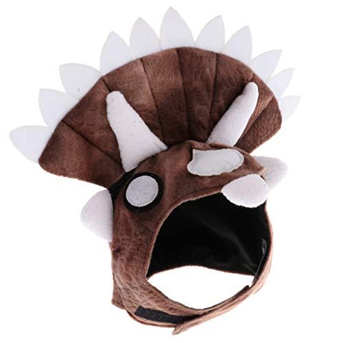 KESOTO Triceratops-Form Hundehut Kopfbedeckung Halloween Haustier Kostüm Zubehör