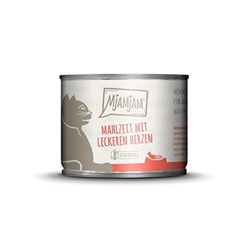 MjAMjAM - Premium Nassfutter für Katzen - Mahlzeit mit leckeren Herzen, 6er Pack (6 x 200 g), getreidefrei mit extra viel Fleisch -