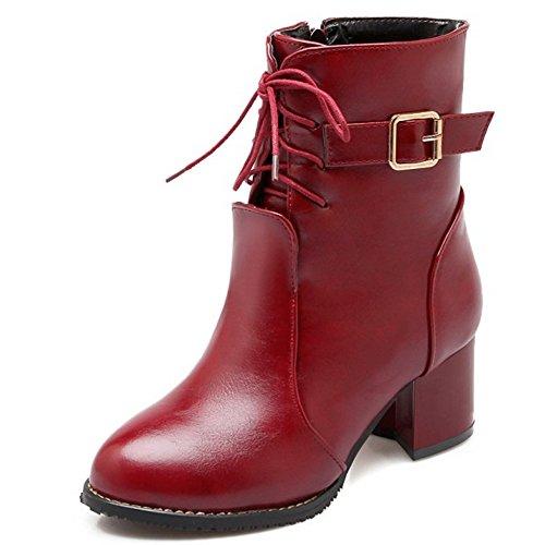 TAOFFEN Damen elegant Blockabsatz Schuhe Schnürung und Riemen westlichen Knöchel  Stiefel Schnalle Rotwein