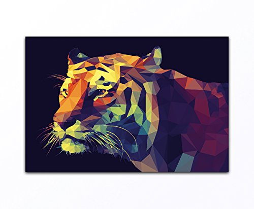 deinebilder24 Modernes Wandbild - 80 x 120 cm - Abstrakter Tiger Mosaik Bunt, Orange, Weiß, Schwarz