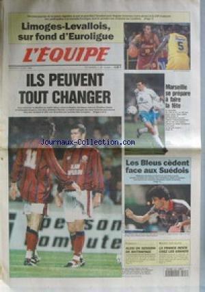 EQUIPE (L') [No 15549] du 03/04/1996 - LIMOGES ET LEVALLOIS - BASKET - FOOT - ZIDANE ET DUGARRY - MARSEILLE - LES BLEUS FACE AUX SUEDOIS - TENNIS DE TABLE - F1 - ALESI - HOCKEY. par Collectif