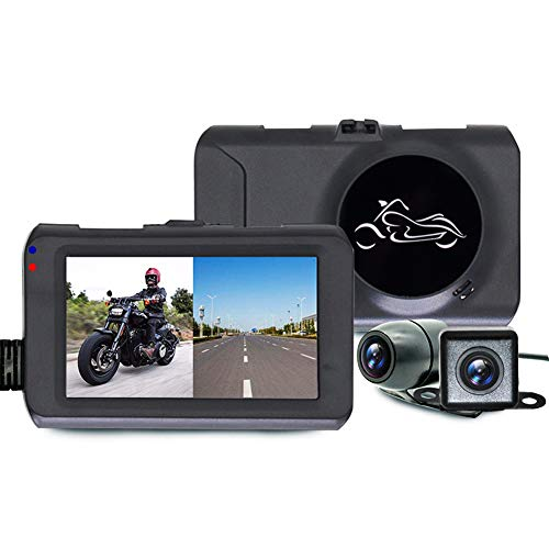 "Motorcycle Recorder, Motorcycle Dash Cam Dual Lens Video Recorder Motorbike Recording Camera with 3"" LCD Screen 120 Degree Angle Day/Night Vision"