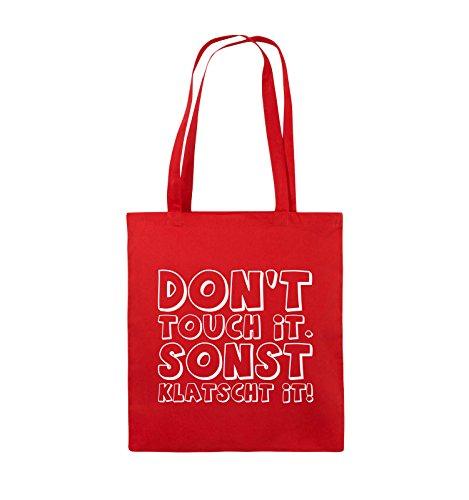 Comedy Bags - DON'T TOUCH IT - KLATSCHT - Jutebeutel - lange Henkel - 38x42cm - Farbe: Schwarz / Silber Rot / Weiss