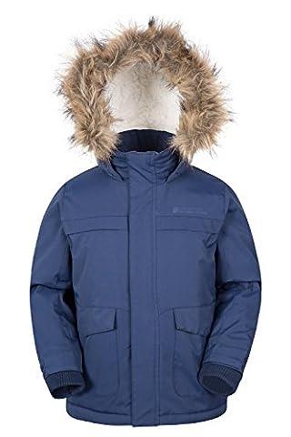 Mountain Warehouse Samuel Kids Parka Jacket - Water Resistant, Padded Microfiber Filling with Fleece Lined & Multiple Pockets Including Inner Pocket Navy 3-4