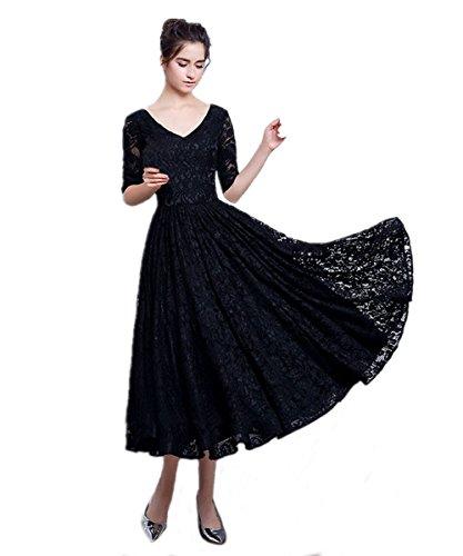 KAIDUN Damen Elegant 3/4 Arm Spitzen Lang abendkleider Schwarz Midikleider Schwarz 42