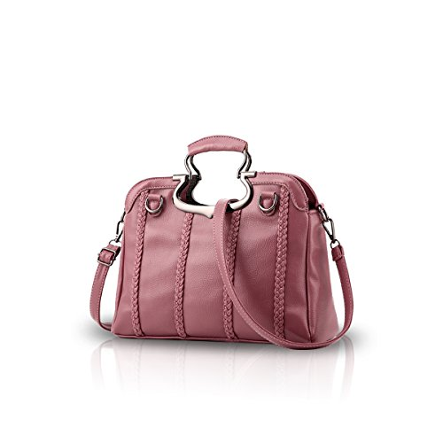 NICOLE&DORIS Donne Moda semplice borsa di Crossbody spalla della borsa Resistente all'acqua Totes morbido PU Rosa Rosa