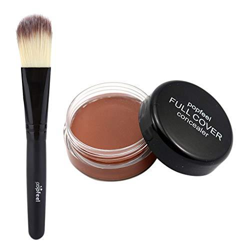 IPOTCH Polvo de Base de Maquillaje Corrector en Crema Cepillo de Polvo Pincel de Fundación de Maquillaje - D
