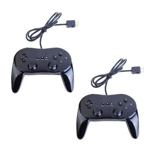 2x Classic Controller Pro GamePad für Nintendo Wii schwarz (Nintendo Wii Classic Controller)