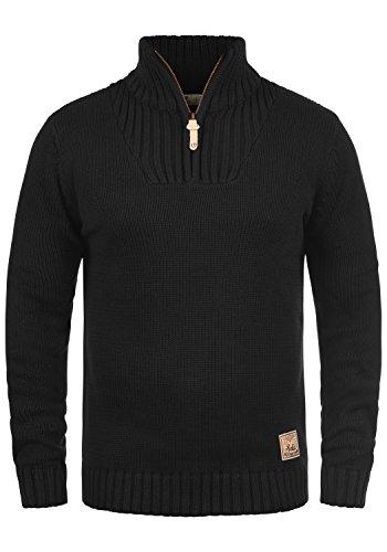 !Solid Petro Herren Winter Pullover Strickpullover Troyer Grobstrick mit Stehkragen und Reißverschluss, Größe:M, Farbe:Black (9000)