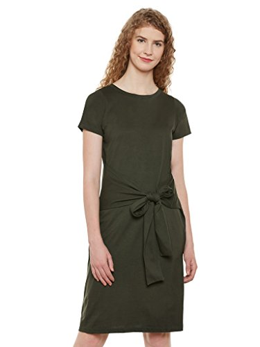 Miss Chase Women's Olive Green Plain Solid Round Neck Half Sleeves Knee-length Knotted Dress