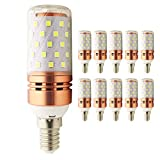 LED Roségold Mais Glühbirne, E14, 8W, entspricht 80 W Glühlampe, 800lm, CRI>80 +, kleine Edison-Schraube, nicht dimmbar Kandelaber LED Glühlampen (kaltes Weiß, 10 Stück)