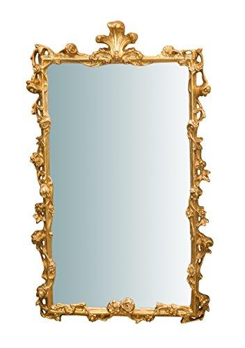 Biscottini Wandspiegel aus Holz Finish Blatt Elfenbein und Gold antik L59x PR6X H98cm. Made in Italy -