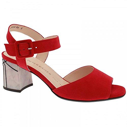 Peter Kaiser Ortrude Block Heel Sandal Red Suede