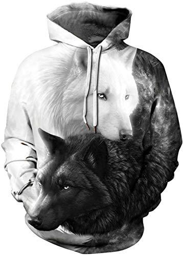 enpullover 3D Druck Hoodies Pullover mit Kapuze Hip Hop Weihnachten Sweatshirts Kapuzenpulli Schwarz Weiß Wolf S/M ()