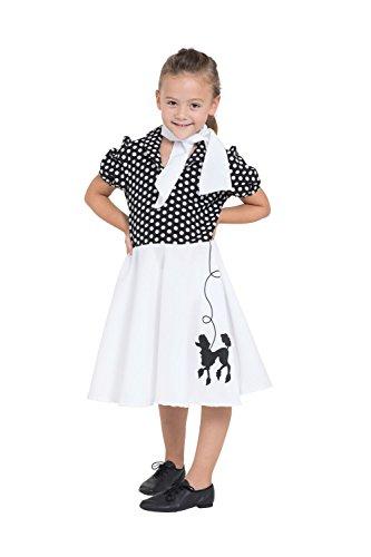 4Kindes Pudel Kleid, weiß/schwarz, groß, 140cm (Pudel-rock-kostüm Für Kinder)