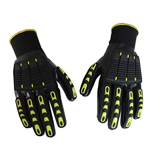RJJX Home Comodo ai Guanti Touch Heavy Duty Lavorare con Knuckles Pads, Guanti Anti Sicurezza Brillante, industriali Impact Working Gear Adatto a Varie Occasioni (Color : Black, Size : L-9(24CM))
