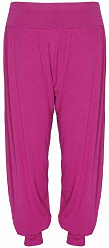 Purple Hanger - Pantalon Femme Grande Taille Uni Extensible Sarouel Harem Bas Resserré Cerise
