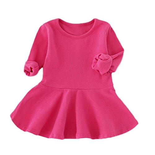Kleid, Honestyi Baby Mädchen Farbe Langarm Winter warm Solid Prinzessin Casual Kleinkind Kinder Kleid (Rose Rot, 2T/100CM)