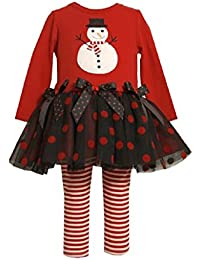 Bonnie Jean Baby Infant Girls Embroidered Red Black Christmas Snowman Tutu Dress Leggings 12 Months