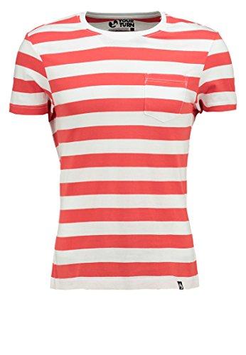 YOURTURN T-Shirt Herren gestreift in Rot, L (Gestreiften Weiß Hemd Rot Herren Und)