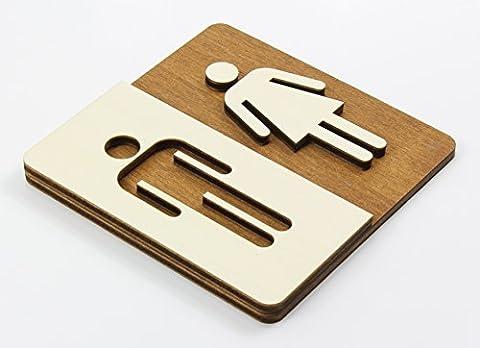 Pictogramme Toilettes - Enseigne Bois Toilette WC Toilettes Plaque de